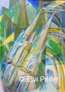 Domfunke BLAU 50x70 cm Acryl im Schattenrahmen
